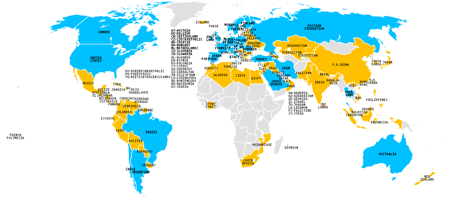 World map of countries with downloads (yellow) and registered YaTQA customers (blue)
